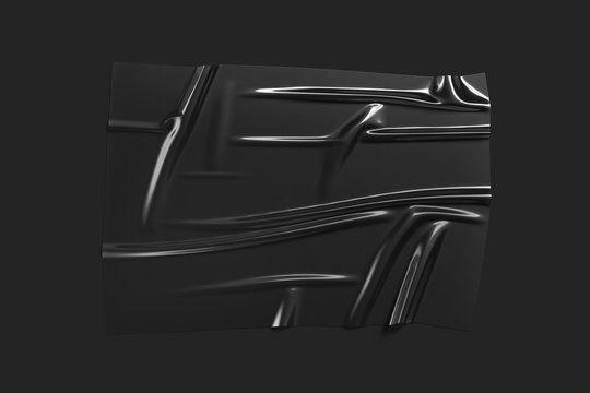 Blank black plastic foil wrap overlay mockup, dark background