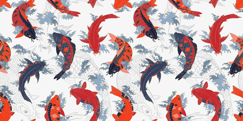 Red and orange koi carps Japanese gray seamless pattern