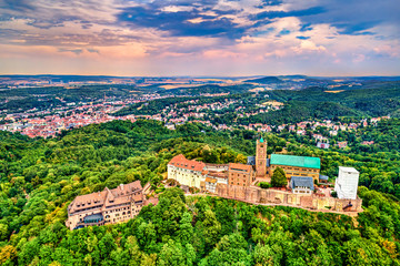 Aerial view of Wartburg Castle. UNESCO world heritage in Thuringia, Germany Fototapete