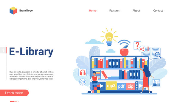 People in virtual e-library landing page flat vector illustration concept. Boy sits and reads book at laptop, girl looks for literature or music in mp3, pdf, zip formats at digital bookshelves