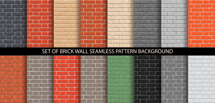 Brick wall seamless pattern set. Different brick background textures - red, orange, gray, black, brown, green, beige, light colors. Set of seamless brick wall texture. Vector pattern illustration.
