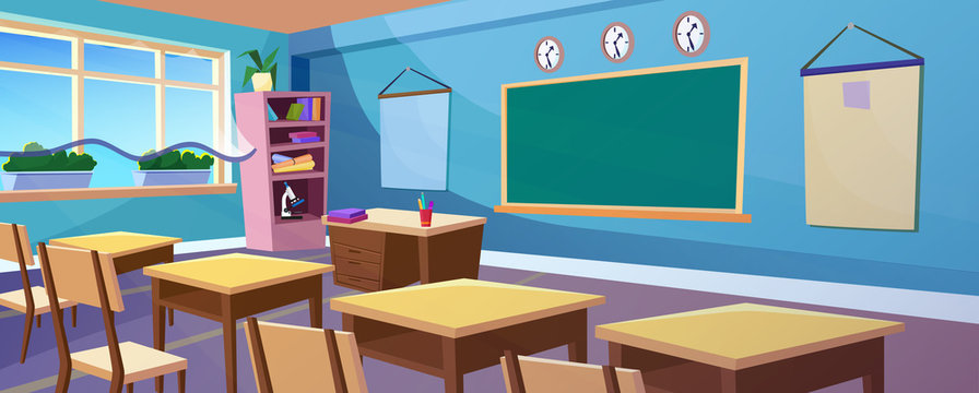Secondary school empty classroom panoramic interior cartoon panorama vector illustration. Class room panorama with big clear window, plants, comfortable wooden desks, chairs and blackboard
