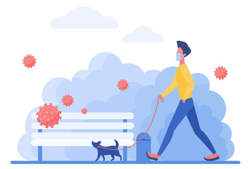Athletic man in medical mask with dog character flat concept vector illustration. The owner walks with his pet in park during quarantine, small dog on leash walks past bench, coronaviruses fly in air Fotomurales