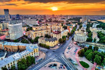 Aerial view of Glory Square in Pechersk, a central neighborhood of Kiev, Ukraine