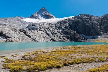 The alpine lake Goletta under the peak called Granta Parey in the valley of Rhemes (Aosta Valley, Italy)