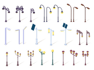 Set of isolated lamppost, vintage street lantern and modern solar park light. Historic metal pole or decorative pillar, isometric streetlamp, classic lamp, electric post for illumination. Architecture Fotomurales