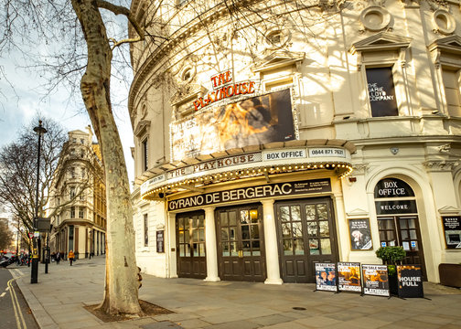 LONDON- MARCH, 2019: Playhouse Theatre near Trafalgar Square in London's West End. Currently showing the Cyrano de Bergerac with James Mcavoy