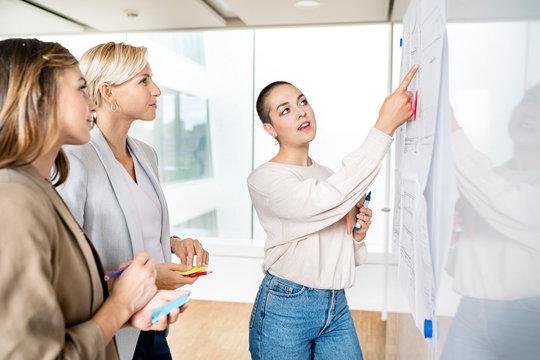 Senior businesswoman leading workshop in office