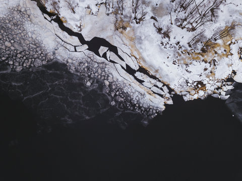 Russia, Saint Petersburg, Sestroretsk, Aerial view of icy shore of Gulf of Finland