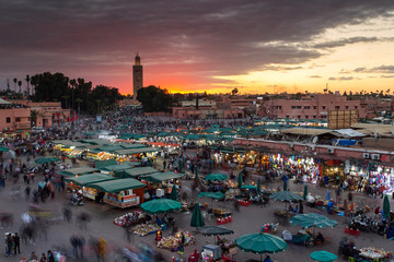 Foto op Aluminium Marokko Jamaa el Fna is a square and market place in Marrakesh's medina quarter (old city) with clouds in background, Marrakesh, Morocco, north Africa