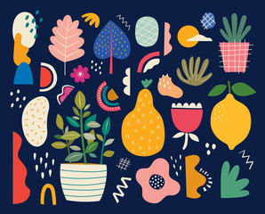 Fototapete - Collection of colorful doodles with summer fruits lemon, pear, flowers and leaves