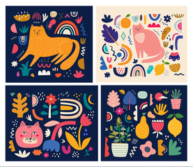 Fototapete - Cute spring pattern collection with cat. Modern posters. Decorative abstract horizontal banner with colorful doodles. Hand-drawn modern illustrations with cats, flowers, abstract elements