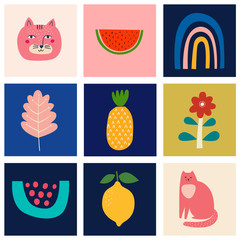 Fototapete - Cute spring collection of cute cards with cats. Decorative abstract illustrations with colorful doodles. Hand-drawn modern illustrations with cats, flowers, abstract elements. Abstract series