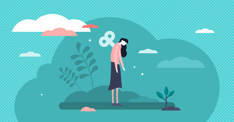 Burnout vector illustration. Low energy fatigue mother tiny persons concept