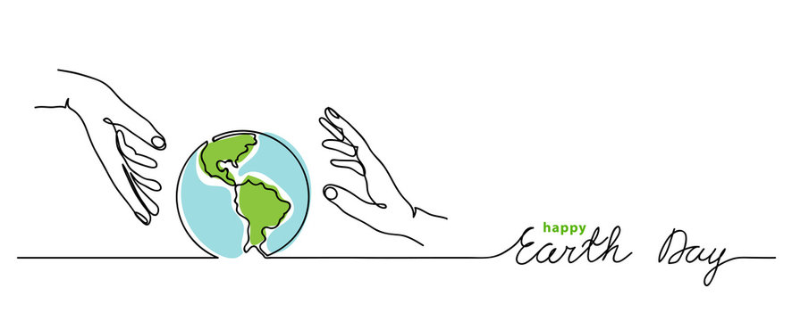 Happy earth day vector background. Simple planet and hands. Minimalist web banner, earth day vector illustration. One continuous line drawing