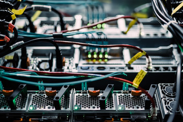 Close up of network server