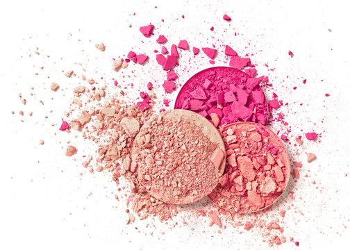 Crushed pink face powder