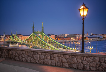 Wall Murals Paris Famous Liberty Bridge in Budapest in dusk