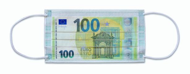 Atemschutzmaske mit 100 Euro-Schein