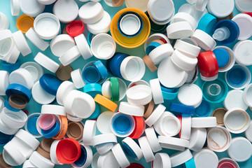 Accumulation of plastic bottle caps