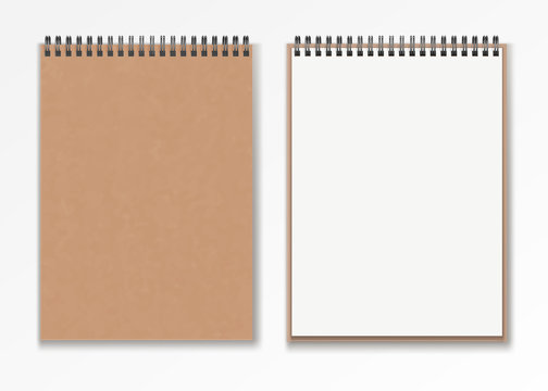 Realistic Blank vertical closed realistic spiral notepad mockup set .