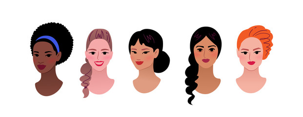 Collection of multiethnic female profile pictures