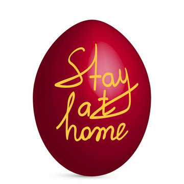 """Coronavirus covid-19 and Easter. Easter egg. The inscription on the egg """"Stay at home"""". Concept on Easter 2020 and the coronavirus pandemic. Vector"""