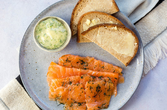 Cured salmon, rye bread and mustard and dill sauce. Scandinavian.