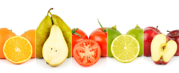 Keuken foto achterwand Verse groenten Panoramic photo of vegetables and fruits close-up separated by vertical lines isolated on white