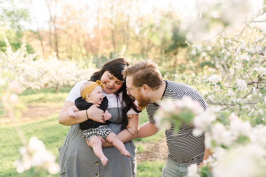 stock photo of young family playing with baby girl in the tree blossoms