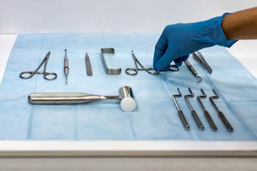 Dentist equipment on sterilized napkin