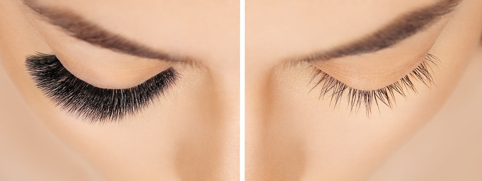 Eyelash extension procedure before after. False eyelashes. Close up portrait of woman eyes with long lashes in beauty salon. Eyelash removal procedure close up.