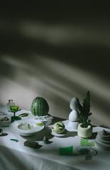 Zelfklevend Fotobehang Historisch mon. Still life study/feast set up