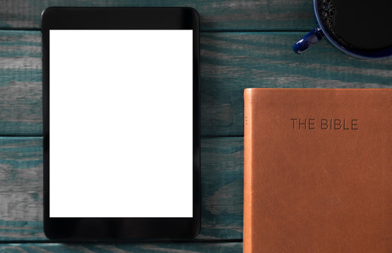A Tablet with a Bible for LIve Streaming Church Services or Bible Study