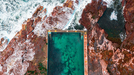 Aerial view of Mona Vale Rockpool on New South Wales in Sydney