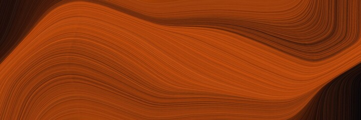 modern landscape orientation graphic with waves. elegant curvy swirl waves background illustration with saddle brown, very dark red and dark red color