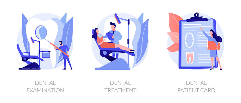 Stomatological clinic. Dentist appointment, checkup and teeth care procedures. Dental examination, dental treatment, dental patient card metaphors. Vector isolated concept metaphor illustrations.