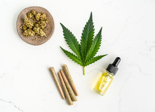 CBD Oil, Pre-Rolled Joints, Weed, and Marijuana Plant