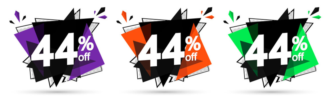 Set Sale 44% off banners, discount tags design template, promo app icons, vector illustration