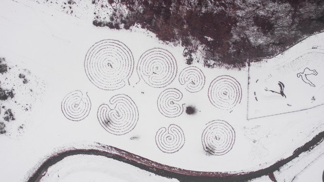 Aerial view of the labyrinths near Donja Stubica in Zagorje, Croatia.