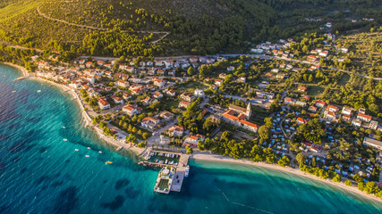 Aerial view of tourist place of Zaostrog and its port. Situated in Dalmatia, Croatia. Fototapete