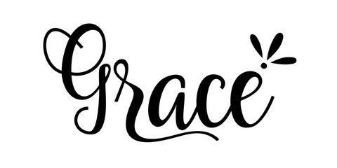 Grace SVG. Hand Lettered Bible Quotes.