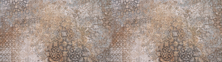 Foto auf Acrylglas Retro Old brown gray vintage shabby patchwork motif tiles stone concrete cement wall texture background banner