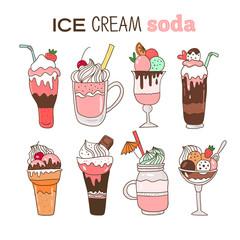 Ice cream soda illustration. Cute cartoon hand drawn food. Vector image.