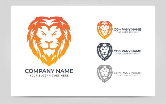 Colorful Modern Lion Head Logo Symbol Design. Graphic vector illustration