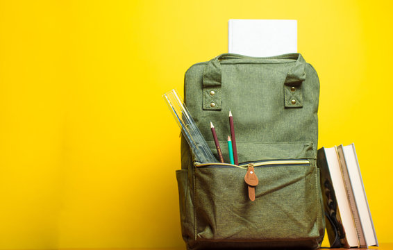 school backpack on background