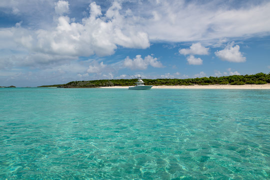 View of Big Major Cay (better known as Pig island or Pig  beach) where lives  a colony of feral pigs (Great Exuma, Bahamas).