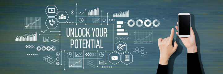 Unlock your potential with person using a white smartphone Wall mural
