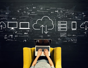 Wall Mural - Cloud computing with person using a laptop in a chair