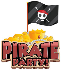 Spoed Fotobehang Kids Font design for word pirate party with flag and gold